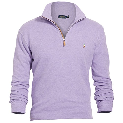 (Polo Ralph Lauren Mens Ribbed Mock Neck 1/4 Zip Pullover Purple L)