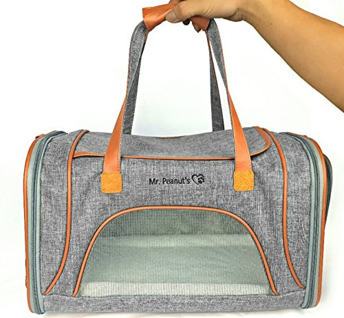 Mr-Peanuts-Airline-Approved-Soft-Sided-Pet-Carrier-Low-Profile-Luxury-Travel-Tote-with-Fleece-Bedding-Safety-Lock-Under-Seat-Compatability-Perfect-for-Cats-and-Small-Dogs-Platinum-Gray