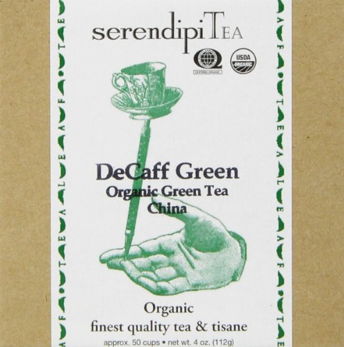 SerendipiTea De-Caff Green, Organic, Decaffeinated Greentea, 4-Ounce Boxes (Pack of 2)