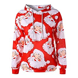 FNKDOR Women's Christmas Tops Jumper Ladies Novelty Santa Claus Print Long Sleeve Hoodie Sweatshirt Tops Blouse Shirt
