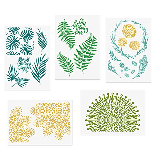 (CODOHI 5 Packs Leaf Stencils Monstera Palm Tropical Green Leaves Floral Mandala Reusable Mylar Template - DIY Craft Stencils for Painting 8.6