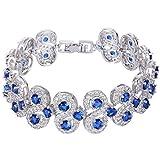 EVER FAITH Silver-Tone CZ September Birthstone Vinstage Style Art Deco Roman Tennis Bracelet Royal Blue