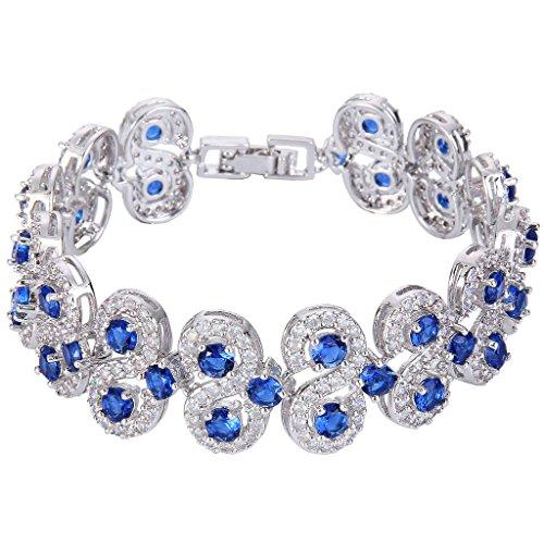Blue Elegant Bracelets (EVER FAITH Silver-Tone CZ September Birthstone Vinstage Style Art Deco Roman Tennis Bracelet Royal Blue)
