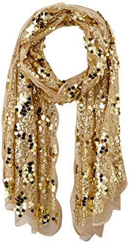 Betsey Johnson Women's Paillette Sequin Tulle Wrap, gold, One Size