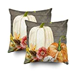 Shorping Zippered Pillow Covers Pillowcases 20X20Inch 2 Pack watercolor white pumpkin red poppy fall leaf wood Decorative Throw Pillow Cover Pillow Cases Cushion Cover for Home Sofa Bedding