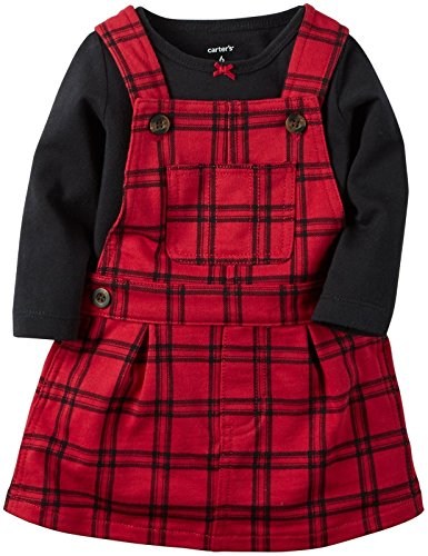 Carter's Baby Girls' 2 Piece Jumper Set (Baby) - Red Plaid - 6 Months (Jumpers Plaid Girls 2)