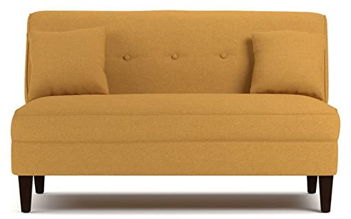 Contemporary Sofa Loveseat – This Upholstered Couch Is Made of Wood and Linen Material – Perfect Seat for Your Bedroom, Living Room – Free Toss Pillows – 1 Year Warranty Mustard Yellow Linen