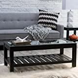 Black Wood Coffee Table with Glass Top Sutton Glass Top Coffee Table with Slat Bottom