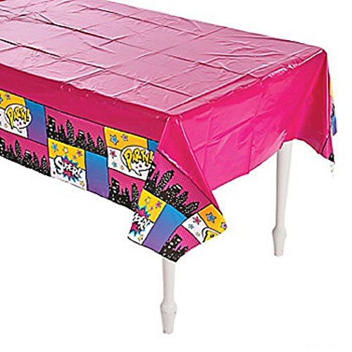 Plastic Tablecover Bright Pink Super Hero Party Buffet Halloween Tablecloth ()