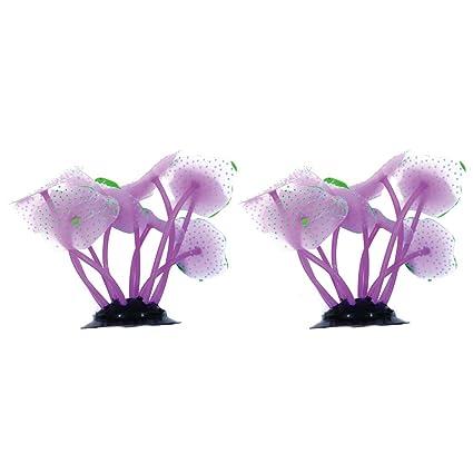 YaptheS Ornamento Planta Planta Artificial Coral 2pcs púrpura del Acuario Sea decoración Acuario de simulación Coral