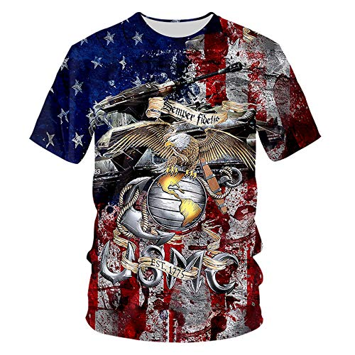 Marine Corps Military T-shirt - pinata Marine Corps USMC T Shirts for Men Unisex 3D Printed Short Sleeve Tee Shirts Mens