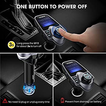 """Victsing Bluetooth Fm Transmitter For Car, Wireless Bluetooth Radio Transmitter Adapter With Hand-free Calling & 1.44"""" Lcd Display, Music Player Support Tf Card Usb Flash Drive Aux Inputoutput 2"""