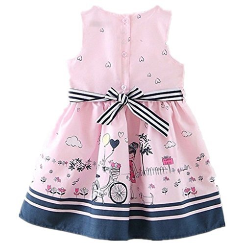 Little Girls Floral Print Butterfly Sleeveless Skirt Dresses 1-7 Years by LUCKFACE (Image #3)
