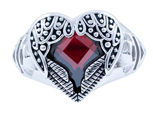 ns .925 Silver Winged Heart with Red Crystal Ring (5) ()