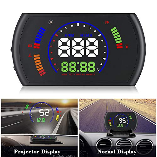 XYCING Car HUD Heads Up Display 5.8 inch OBD Digital Speedometer Windshield Projector OBD2 Vehicle Speed Dashboard Display MPH, RPM, Fuel Consumption, Speed Alarm, Water Temperature, Voltage, Mileage ()