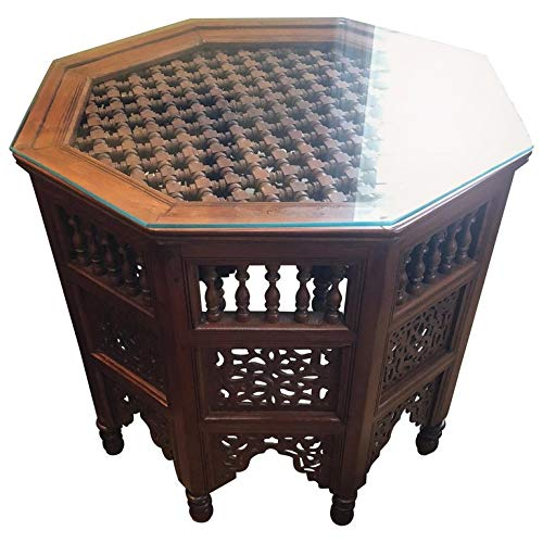 - Moroccan Glass Top Carved Wood End or Side Table
