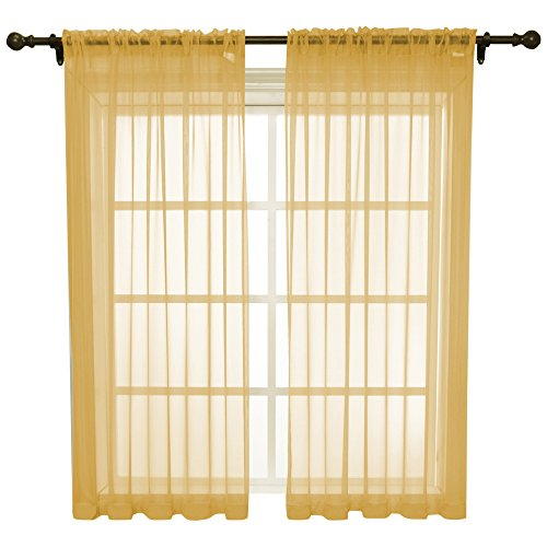 Each Sheer - HOLKING Rod Pocket Sheer Curtains 63 inch for Bedroom Living Room Window Treatment Set Gold Curtains,2 Panels Each is 52 inches wide by 63 inches long