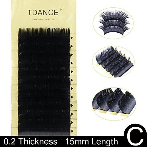 Professional Silk (TDANCE Premium C Curl 8-18mm Semi Permanent Individual Eyelash Extensions 0.05-0.25mm Thickness False Mink Silk Volume Lashes Extensions Professional Salon Use(C,0.2,15mm))
