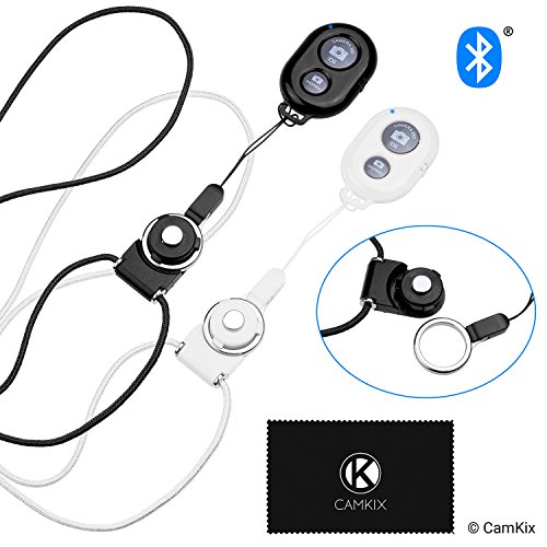 2x-camkix-camera-shutter-remote-control-with-bluetooth-wireless-technology-blackwhite-lanyard-with-detachable-ring-mount-picturesvideo-wirelessly-at-30-ft-compatible-with-iphoneandroid