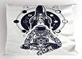 Lunarable Moon Phases Pillow Sham, Space Shuttle Astronaut in Lotus Position Tattoo Design Yoga Meditation, Decorative Standard King Size Printed Pillowcase, 36 X 20 inches, Dark Blue White