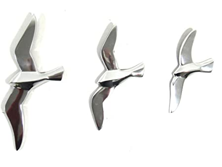 NEW - Contemporary Metal Wall Art u2013 Set Of 3 Flying Seagull Birds  sc 1 st  Amazon UK & NEW - Contemporary Metal Wall Art - Set Of 3 Flying Seagull Birds ...