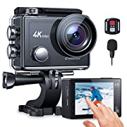 Crosstour Action Camera, 4K 60FPS Touch Screen EIS Underwater Camera External Microphone Ultra HD Sports 8X ZOOM…