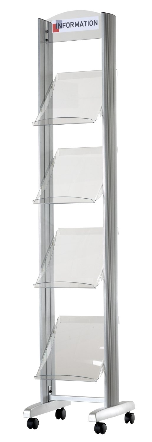 PaperFlow Single Sided Mobile Literature Display, 4 Acrylic Shelves, 15x15x66.33 Inches, Aluminum (256TT.35)