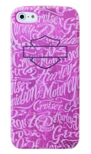 Harley-Davidson iPhone 5/5s Shell Printed TPU Pink With White Script Case 07616