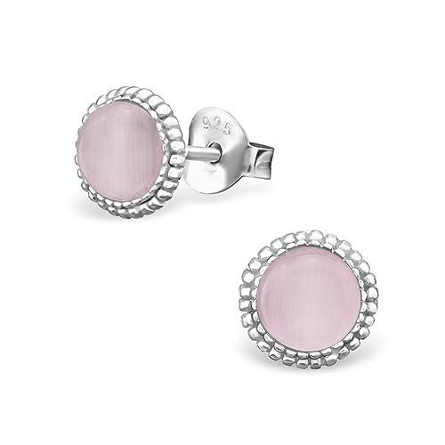 SILVI nity Mujer Pendientes Color Rosa - 925 plata pendientes ojo de gato Plata Rodio Ø8 mm + Caja # SV de 216 de R: Amazon.es: Joyería