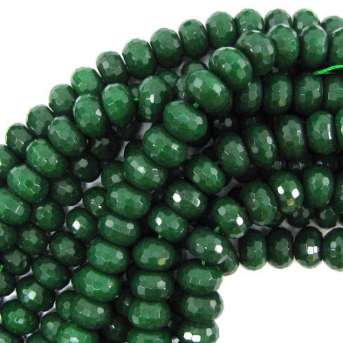 "Faceted Emerald Green Jade Rondelle Beads 15"" 8x12mm"