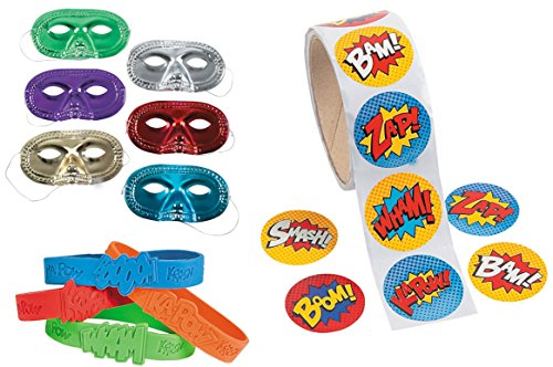 148 Pc Superhero Party Favor Supply Pack (24 Metallic Mask, 24 Super Hero Saying Rubber Bracelets, 100 Stickers) ()