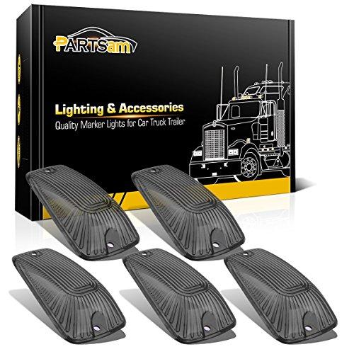 Partsam Roof Cab Marker Running Light 5pcs Smoke Cover Lens For 1988-2002 Chevy GMC C1500 C2500 C3500 C4500 C5500 C6500 C7500 K1500 K2500 K3500 K4500 K5500 K6500 K7500 Kodiak Topkick Pickup Trucks