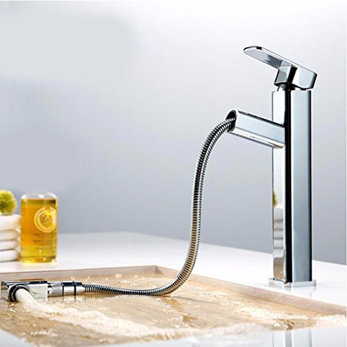 All Copper Hot And Cold Pull Type Basin Faucet Single Handle Single Hole Toilet Upper Basin Telescopic Stretching Faucet,B by SJQKA