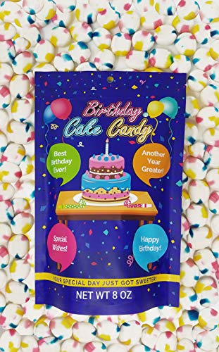Happy Birthday Cake Flavored Candy: Gluten Free Treats for Birthday Parties, Party Bags, Present Boxes, Buffet Tables - Multicolored Hard Candies for Kids, Teens, Adults - Cake Flavor, 8 ounces