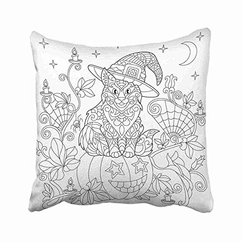 GOOESING Halloween Coloring Page Cat in Hat Pumpkin Spider Lanterns with Candles Moon and Stars Freehand Sketch Pillow Case/Pillow Cover 50% Cotton & 50% Polyester Size 18x18 -