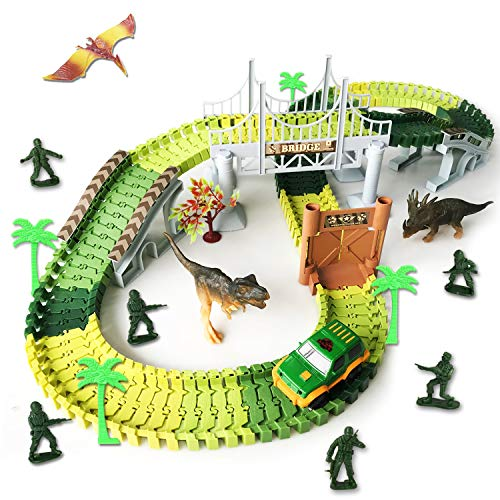 Dinosaur Race Track Toys,Jurassic World Create Road with 144 Flexible Tracks Playset Toy Slot Car Hanging Bridge Dinosaurs Soldier Toys ect. Perfect Toy Gifts for 3+Year Boys (Track-144)