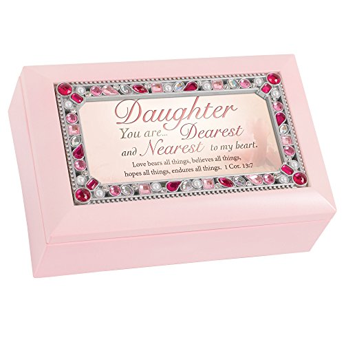 Cottage Garden Daughter You are Jeweled Pink Jewelry Music Box - Plays Tune Amazing Grace