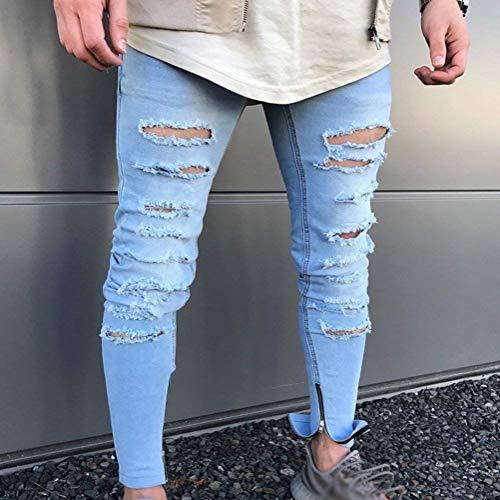 Strappati Jeans Con Denim Da Pantalone Distrutti In Pantaloni Uomo Slim Fit Di Chiusura Buco Blau Casual A qrfrt7
