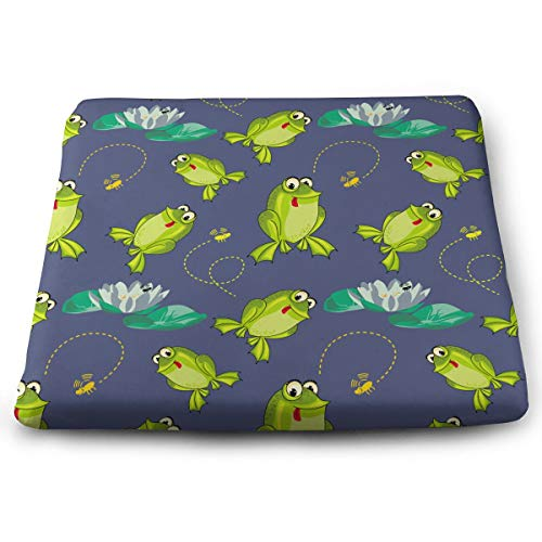 Jadetian Outdoor Frog in Lotus Pond Square Seat Cushion Yoga Cotton Cushion for Outdoor Patio Furniture Garden Home Office Car Seat Cushion -