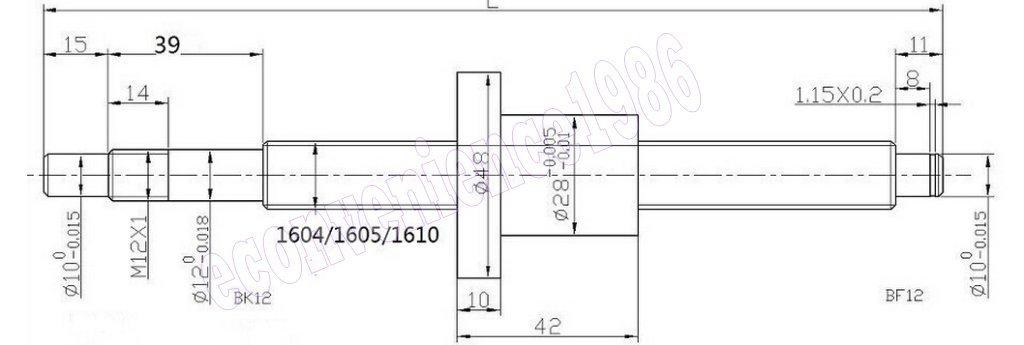 2 x SBR20--600/1500mm linear rail+ Anti-baclashed ballscrew RM1605-600/1500mm-C7 ballscrew+4 sets BK/BF12 end bearing & 4 pcs 6.3510mm coupling CNC set