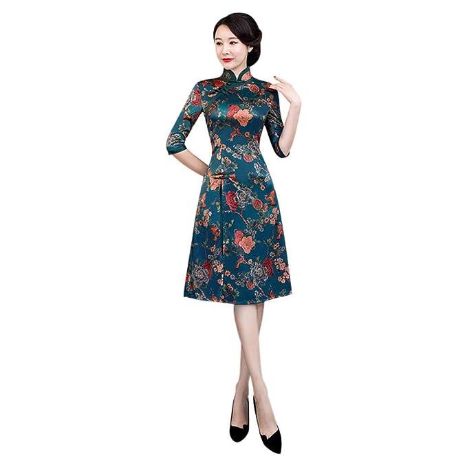 2c7d75b93 Meijunter Cheongsam Chino Qipao de Mujer - Floral Elegante Vintage Satén  Vestido de Noche de Estilo Oriental