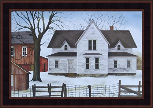 (1890 Farmstead by Billy Jacobs 15x21 Weathered House Red Barn Americana Country Primitive Folk Art Print Framed Picture)