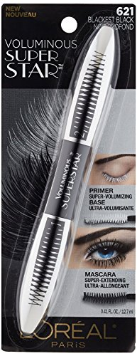 Lor Vol Sperstr Wsh Blkls Size .41z L'Oreal Voluminous Superstar 621 Blackest Black Washable Mascara .41oz (Maybelline Mascara Voluminous)