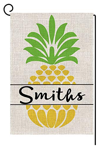 BLKWHT Personalized Last Name Garden Flag - Custom Pineapple Garden Flag Vertical Double Sided Summer Fall Yard Outdoor Decorative 12.5 x 18 Inch