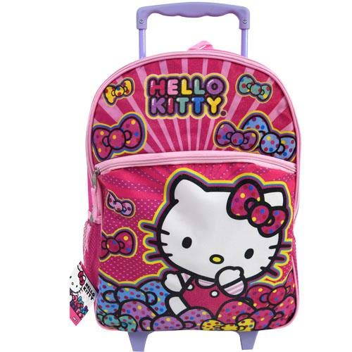 Hello Kitty 16 Rolling Backpack Bows ()