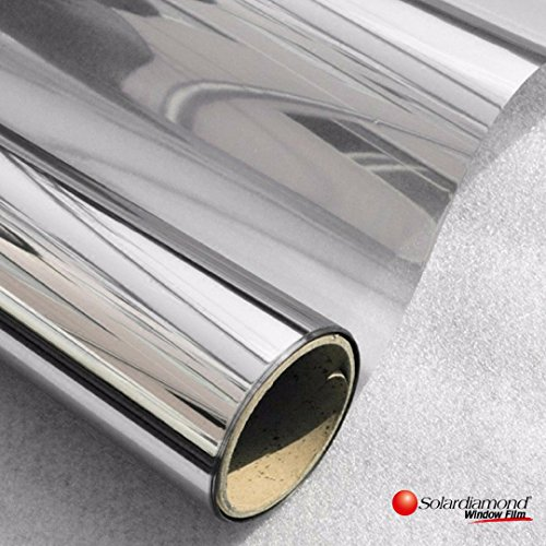 SOLARDIAMOND Window Film Privacy Mirror One Way Heat Control Sun Blocking Insulation Film UV Protection Decorative Residential Window Tint Roll For Home Office & Car | 15% Reflective Silver 60inX100ft (100' Blackout Room Roll)