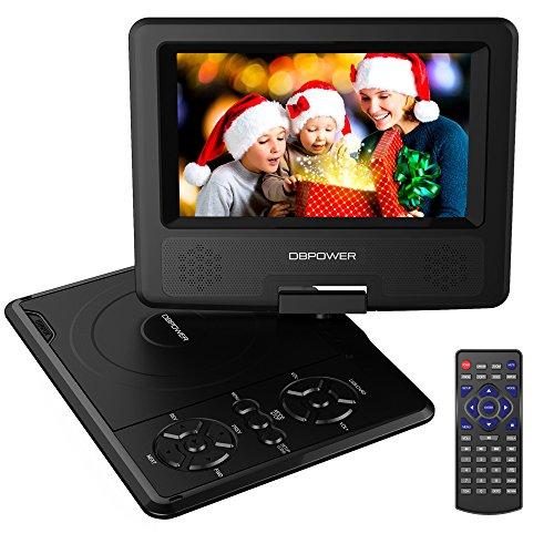 DBPOWER 7.5'' Tragbarer DVD-Player, 5 Stunden Akku, schwenkbaren Bildschirm, unterstützt SD-Karte und USB, mit Spiele-Joystick, Auto-Ladegerät--Schwarz