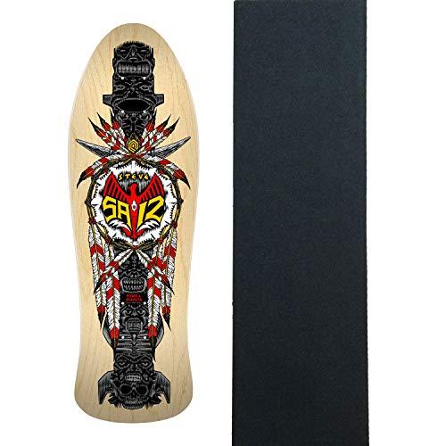 差し引く適格レーニン主義Powell-Peralta スケートボードデッキ Steve Saiz Totem Natural 10インチ x 30.81インチ グリップ付き