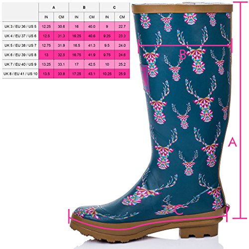 Women's Boots SPYLOVEBUY Flat Buckle Welly Rain Adjustable IGLOO Stag 44H0xqnO