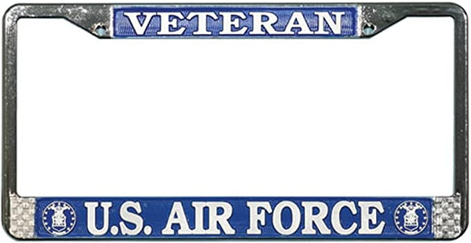 "Air Force Retired Metal Chrome License Plate Tag Frame /"" MADE IN THE USA /"""
